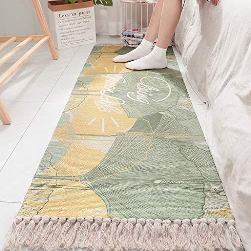 NIHAI Tassel Cotton Hand-Knitted Bedside Carpet, Long Anti-Slip Mat Indoor/Outdoor Floor Mat Doormat for Living Room Hallway Kitchen, 60 x 150cm/60 x 180cm (L, C)