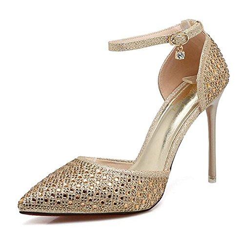 L@YC Frauen High Heels Braut Hochzeit Brautjungfer Kleid Kristall Diamant mit einem einzigen Wort Gürtelschnalle Sandalen Gold