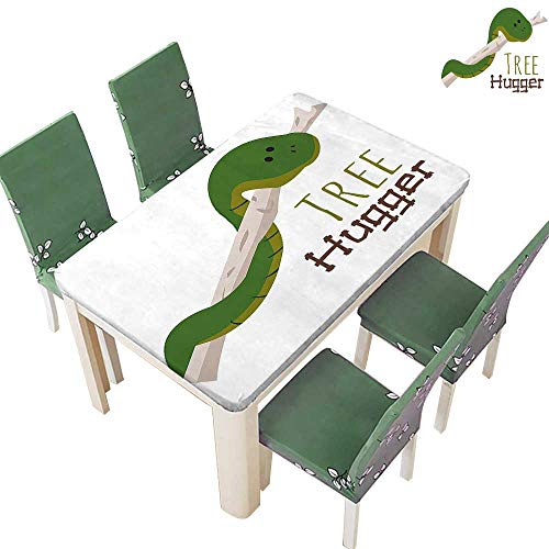 Printsonne Decorative Tablecloth Snake Hang from Hugger Love Mascot Humor Reptil Comic Home Green for Dining Room and Party 54 x 72 Inch (Elastic - Medallion Hugger
