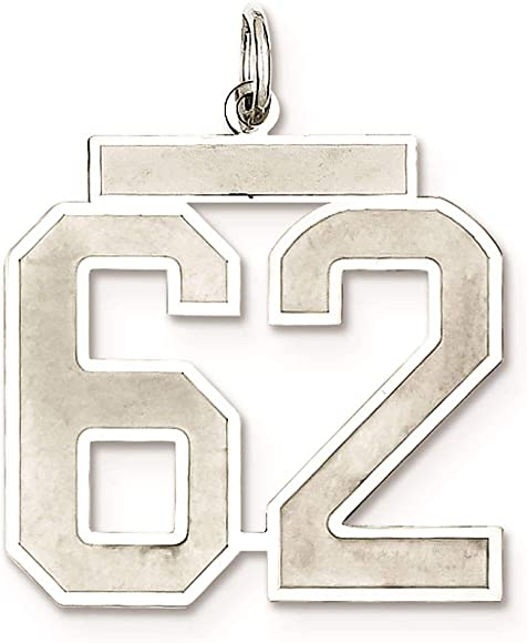 Sterling Silver Large Satin Number 18 Charm Pendant