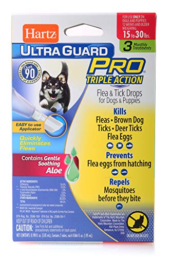 - Hartz UltraGuard Pro Topical Flea & Tick Prevention for Dogs and Puppies - 15-30 lbs, 3 Monthly Treatments