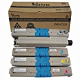 V4INK® 4 Pack New Compatible OKI 44469703/44469702/44469701 Toner Cartridgee-Color (1C/1M/1Y/1BK) (OKI C330) for OKI C310/C330/C510/C530/MC361 MFP/MC561 MFP Series, Office Central