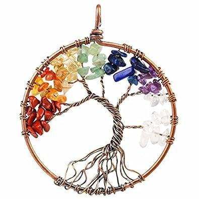 Amazon sunyik 7 chakra stone tree of life pendant tumbled sunyik 7 chakra stone tree of life pendanttumbled stones healing copper plated aloadofball Images