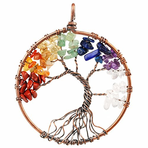 SUNYIK 7 Chakra Stone Tree of Life Pendant,Tumbled Stones Healing Copper Plated