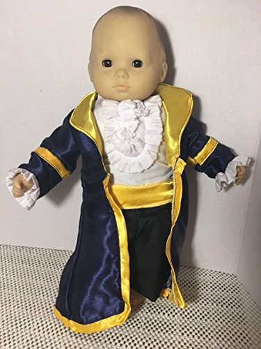 [Fits 15 inch Bitty Baby Boy Doll Clothes Prince Charming Knight Beast Adam Replica Halloween Costume Blue White Black 3pcs NO DOLL] (Costumes Replicas)