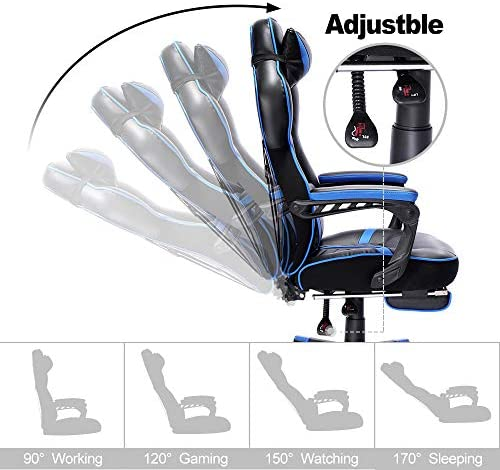 Bonzy Home Gaming Chair Office Desk Computer Chairs with Footrest Adult High Back Armrest Ergonomic Design with Adjustable Height and Lumbar(Blue) 51TmhPt5dOL