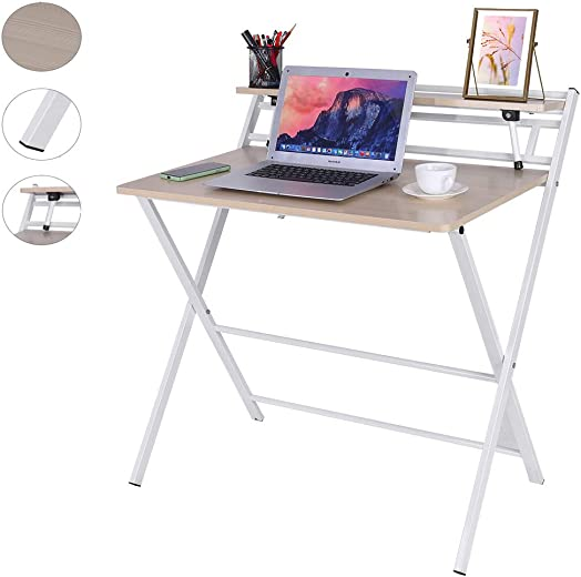 Folding Study Desk, Folding Laptop Table Home Corner Desks Simple Computer Desk with Shelf for Small Space Home Office White