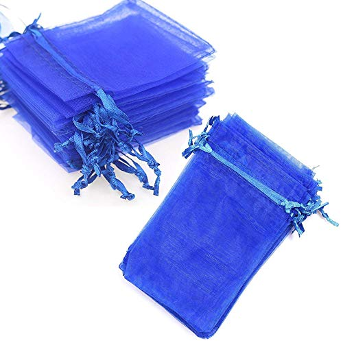 Organza Bags 100pcs 4 x 6 Inch Gift Bags Organza Drawstring Pouch Jewelry Party Wedding Favor Party Festival Gift Bags Candy Bags (Royal Blue) -