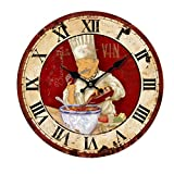 KiaoTime 13.5 inch Vintage Wall Clock Italian Cooking Chef Clock Non-Ticking Clock Kitchen Wood Wall Clock