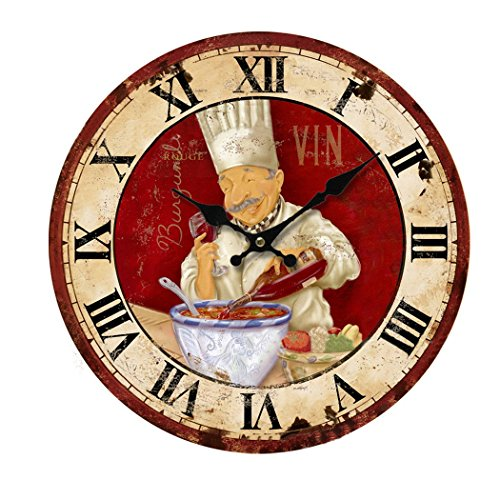 KiaoTime 13.5 inch Vintage Wall Clock Italian Cooking Chef Clock Non-ticking Clock Kitchen Wood Wall Clock (Clock Chef Wall)