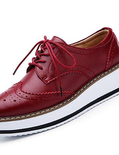Cuero 5 Plano red eu39 us8 us8 red 5 us8 eu39 5 5 ZQ 5 Bermellón 5 Zapatos Comfort Oxfords de eu39 uk6 cn40 uk6 cn40 uk6 red Tacón Casual cn40 Negro mujer wng8Iq