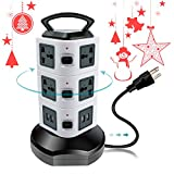 Surge Protector Power Strip Tower With USB, Multi Outlet Plug With Universal Electric Socket [Retractable Extension Cord][10 Outlet Plugs][4 USB Slot] for Office, Home, Kitchen, PC, Laptop, iPhone X,8