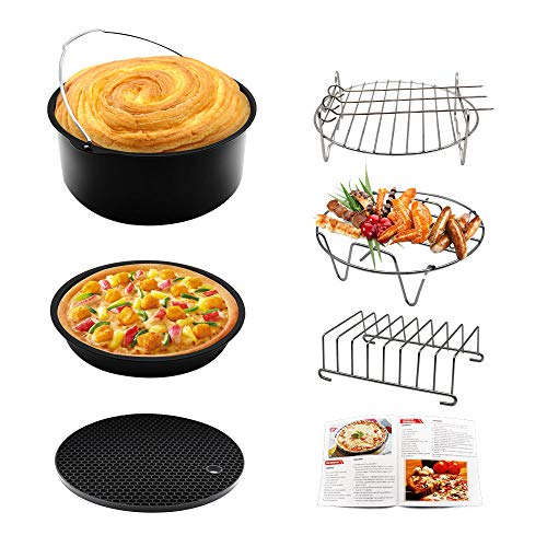 Air Fryer Accessories 6pcs 7 Inches Universally Available for Philips Gowise Cozyna Fit all 3.7QT - 5.3QT - 5.8QT with Cookbook