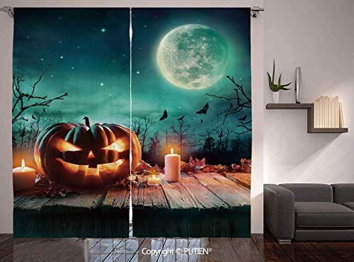 Thermal Insulated Blackout Window Curtain [ Halloween,Fantastic Magic Night Spooky Atmosphere Candles Pumpkin on Wooden Planks Print,Multicolor ] for Living Room Bedroom Dorm Room Classroom Kitchen Ca]()