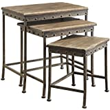 Coaster Furniture 901373 Antique Brown Nesting Table (Set of 3)