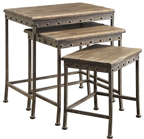 Coaster Home Furnishings 901373 Coaster Industrial Rustic Brown 3-Piece Nesting Table Set,