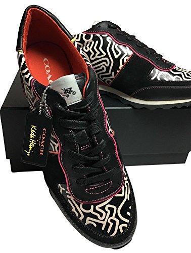 Coach X Limited Edition Keith Haring Scarpe Da Ginnastica Moda Sneaker Graffiti Nero Bianco C121