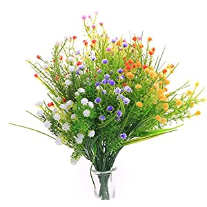JAKY Global Artificial Flowers Babysbreath Fake Water Plants Bouquet 6 Bundle Fake Plants Wedding Bridle Bouquet Outdoor Home Office Christmas Decor 86