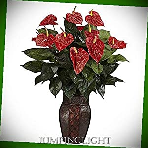 JumpingLight 6666 Anthurium with Vase Silk Plant Artificial Flowers Wedding Party Centerpieces Arrangements Bouquets Supplies 108