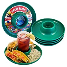 Great Plate – Plastic Party Plate for Food and Drink in One Hand - Green, 6 Piece