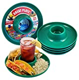 Great Plate - Plastic Party Plate for Food and Drink in One Hand - Green, 6 Piece