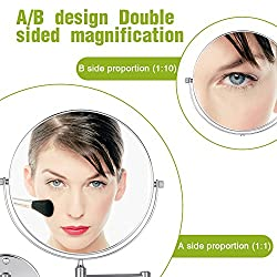 Cozzine Magnifying Wall Mount Makeup Mirror Extendable Bathroom Magnifying Mirror