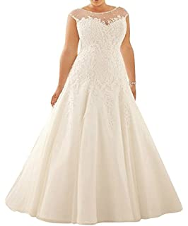 ee947d9bbfb WeddingDazzle Plus Size Tulle Lace Wedding Dresses A-Line Bridal Dresss for  Women s