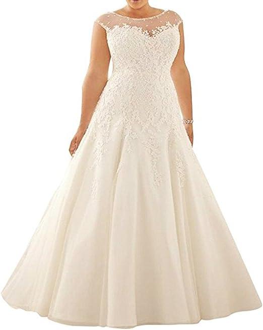 Amazon.com: WeddingDazzle - Vestido de novia de encaje de ...