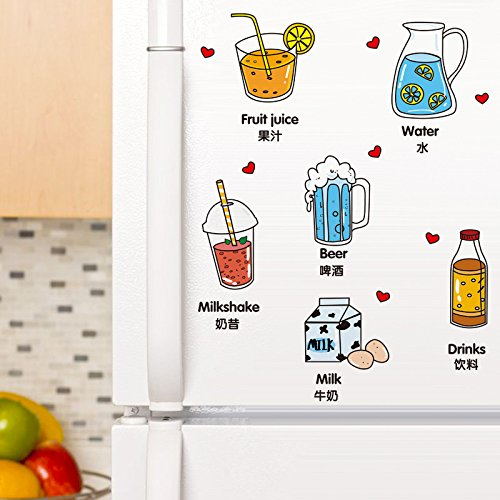 SoungNerly Wall Art Sticker Decals Drinks Lovely Cartoon Refrigerator Door Children's Room Decor self Adhesive Drink Decals Posters,3040CM for $<!--$13.99-->