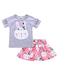 SUPEYA Kids Baby Girls Bunny Print Tops Bowknot Tutu Skirt Dress Outfits Clothes Set