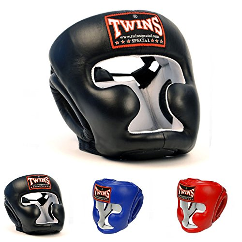 Twins Special Headgear Head Guard HGL-3 Color Black Blue Red Size S, M, L, XL for Protection in Muay Thai, Boxing, Kickboxing, MMA (Black,L)