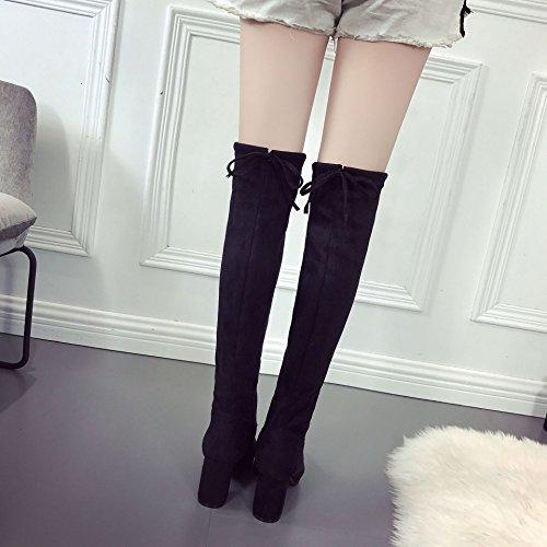 alto sottili stivali nero Tacco tratto e gambe il ginocchio lunghe velluto girl dalle 36 stivali con spesso plus nero di dAXq5Wq