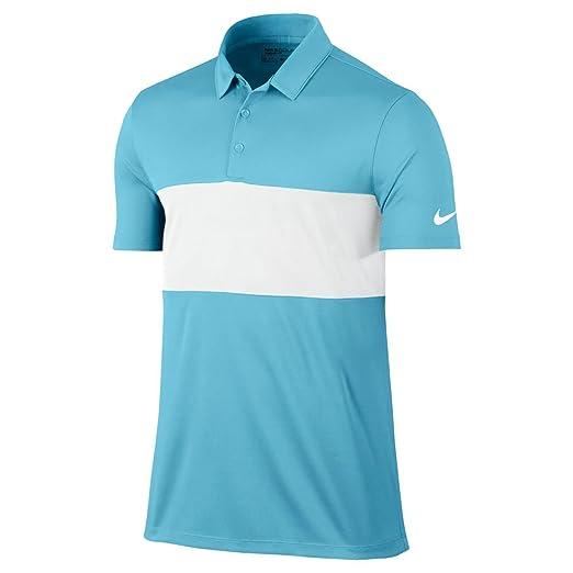 f58d99bd3 Amazon.com   Nike Breathe Color Block Golf Polo 2017 Vivid Sky White White  Large   Clothing