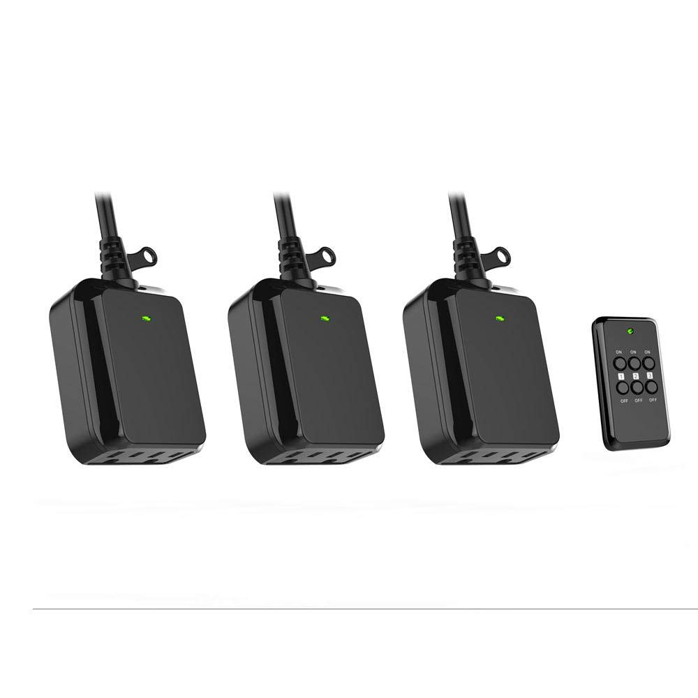 Holiday 3-Pack Wireless Indoor Outdoor Lighting Remote Control Switch Security