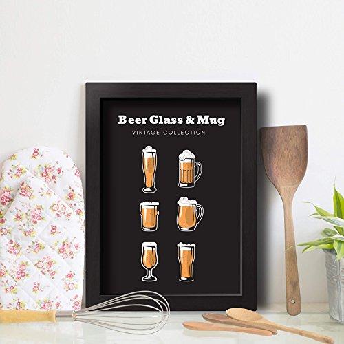 Quadro Cozinha Cerveja Glass & Mug 22x32cm Moldura Preta
