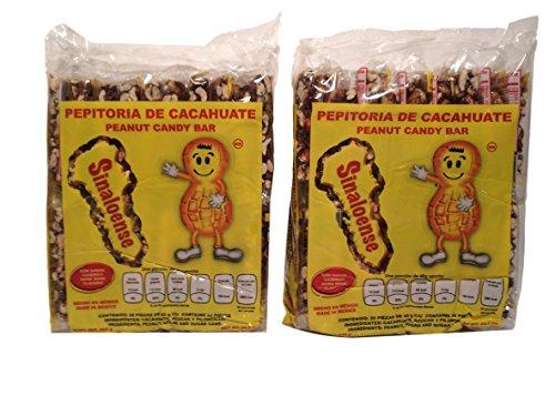 Pepitoria Sinaloense, Palanquetas de Cacahuate Mexicanas-Peanut Mexican Candy Bars, 20 Pieces 28.2 oz (Pack of 2)