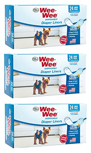((3 Pack) Four Paws Wee-Wee Dog Diaper Garment Pads, 24 Per Pack)