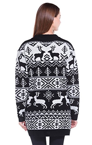 bd41406a2e2 Womens Oversized Christmas Reindeer Cardigan (Large, Black - Import ...