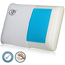 Memory Foam Pillow with Cooling Gel - Prevents Back Neck Pain + FREE Bamboo Washable Cover Aloe Vera - for Back Stomach Side Sleepers - Aids Cervical Pain and Soreness (1)