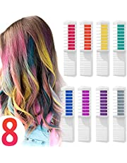 Wolady Hair Chalk Comb Temporary Hair Dye Hair Color Brush Glitter Paint for Adults Kids & Children - Boys & Girls Perfect Gift Idea Halloween Set of 8 pcs