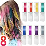 Hair Chalk Comb Temporary Hair Dye Hair Color Brush Glitter Paint for Adults Kids & Children - Boys & Girls Perfect Gift Idea Halloween Set of 8 pcs