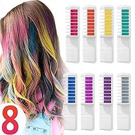 Coloration Temporaire Cheveux Craie Peigne pour Teinture vos  Cheveux, rainbow 8 Couleurs