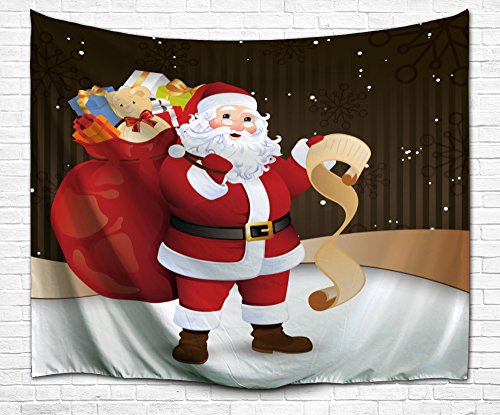 BEWAVE Christmas Decorations Wall Hanging, 3D Xmas Printed Polyester Fabric Holiday Wall Tapestry Art Valentine's Day for Living Room, Home, Bedroom Mural (51x60Inches, Santa Claus)