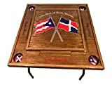 Puerto Rico & Dominican Republic Flag Domino Table -Dark Walnut