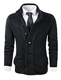 Men's Button Point Stand Collar Knitted Slim Fit Cardigan Sweater