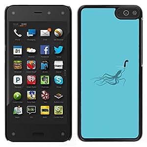Caucho caso de Shell duro de la cubierta de accesorios de protección BY RAYDREAMMM - Amazon Fire Phone - Loch Ness calamar divertido