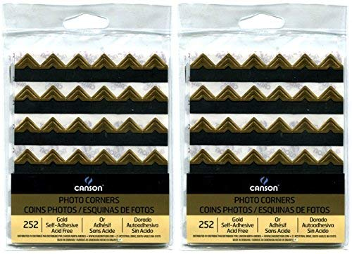 2-Pack Bundle - Canson Self Adhesive Photo Corners, Peel-Off Archival Quality, Gold, 252 count each Pack by Canson