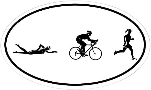 Iconos de triatlón de la mujer CafePress óvalo etiqueta engomada Oval, Blanco, 3x5: Amazon.es: Hogar