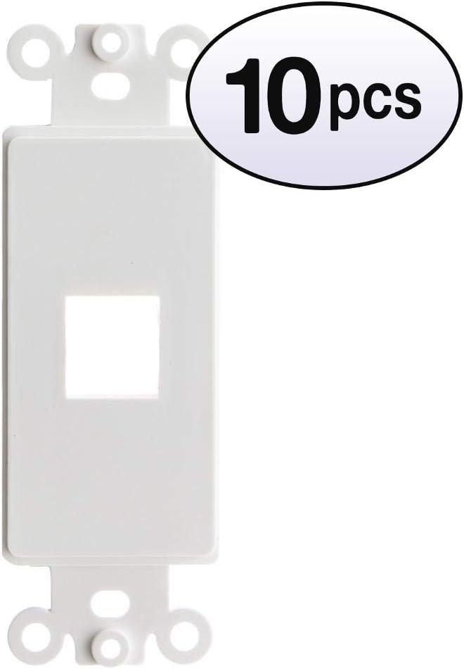 10 Pack ACL Decora 4 Keystone Jack Wall Plate Insert White
