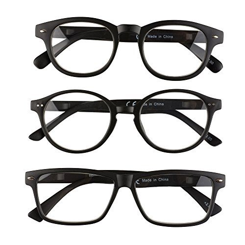 EyeSquare Reading Glasses - 3 Pack Quality Frames, Matte Plastic, Spring Hinges, Non-Polarized, Trendy + Sleek, - Without Glasses Magnification